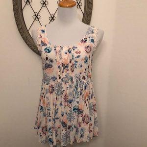 Lauren Conrad soft pink floral sleeveless blouse s